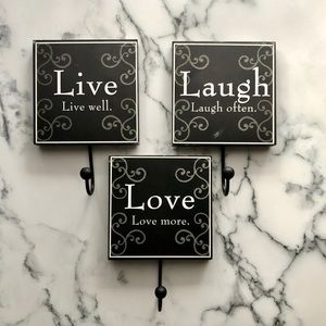 Live Laugh Love wall hooks
